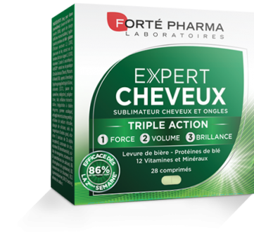 forte pharma - cheveux - ongles - beautés - soins - vitamines - majuscules
